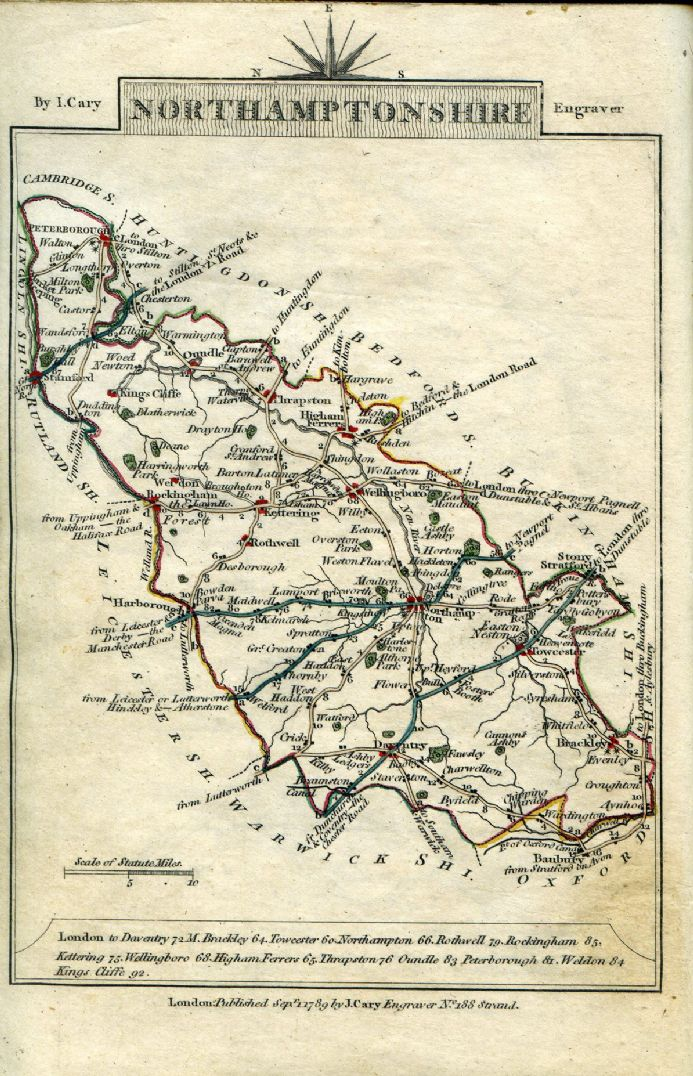 Northamptonshire County Map by John Cary 1790 - Reproduction
